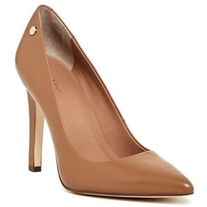 Calvin Klein Camel Pointed Toe Leather Pumps